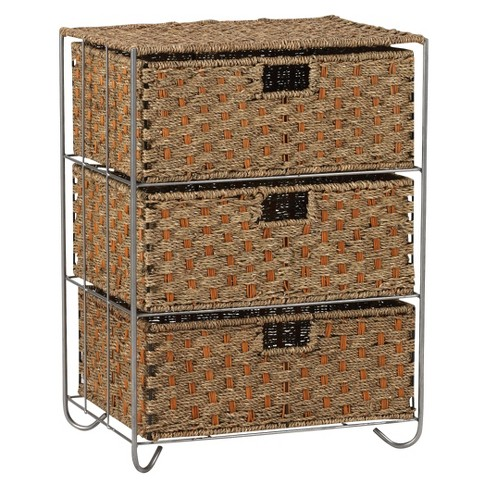 Household Essentials Seagrass And Rattan 3 Drawer Storage