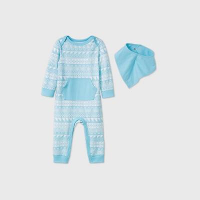 Baby Fair Isle Bib Romper - Cat & Jack™ Turquoise Newborn