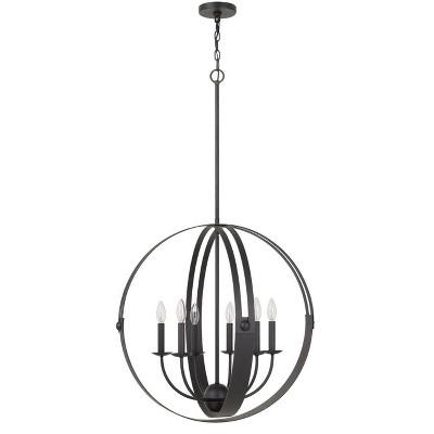 "27"" x 27"" x 46""H 60W x 6 Valais metal chandelier in Matte Black - Cal Lighting"