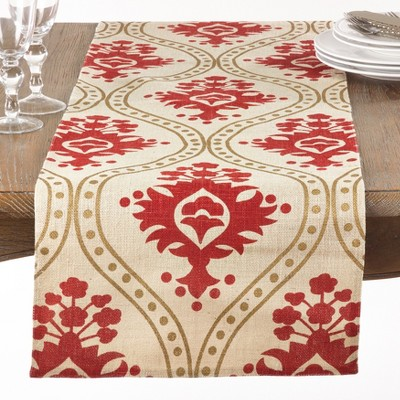 72 x14  Damask Print Jute Table Runner Ivory - Saro Lifestyle