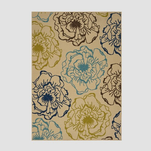 5' x 8' Adley Floral Outdoor Rug Ivory/Green - Christopher Knight Home - image 1 of 4