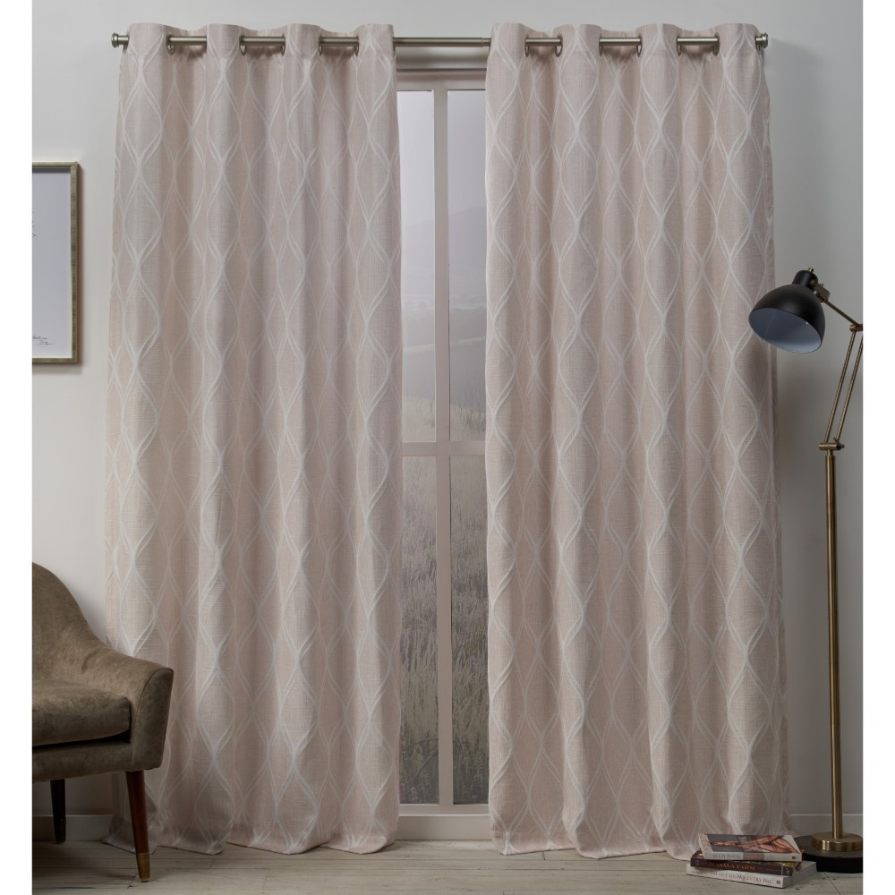 54x96 Sonos Ogee Textured Grommet Top Curtain Panel Pair Blush Pink - Exclusive Home