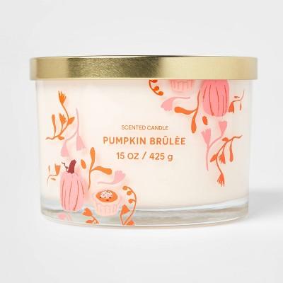 15oz Lidded Glass Jar Cream Pumpkin Print 3-Wick Pumpkin Brulee Candle - Opalhouse™