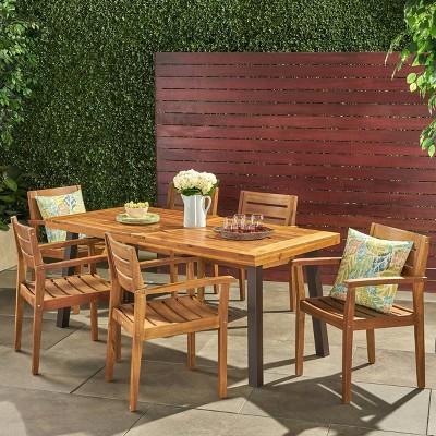 Avon 7pc Acacia Wood Dining Set - Christopher Knight Home