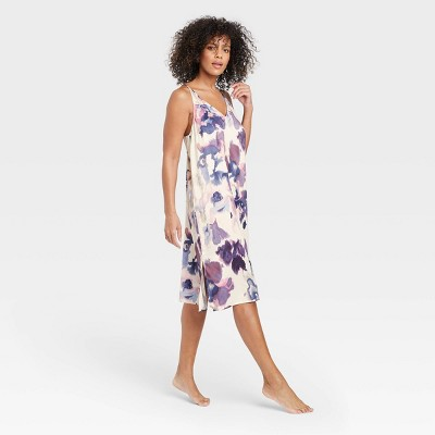 Women's Floral Print Satin Nightgown - Stars Above™ Cream