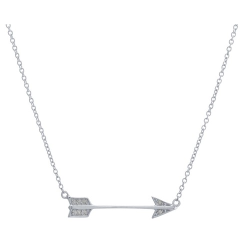 "Women's Sterling Silver Cubic Zirconia Arrow Necklace (16"" +2"") - image 1 of 1"