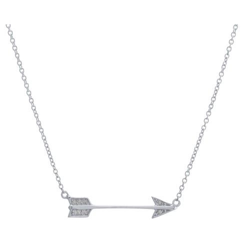 Women s Sterling Silver Cubic Zirconia Arrow Necklace (16
