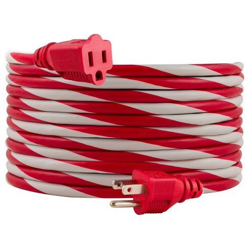 Red//White 25-Foot Candy Cane Striped Extension Cord with 3 Grounded Outlets