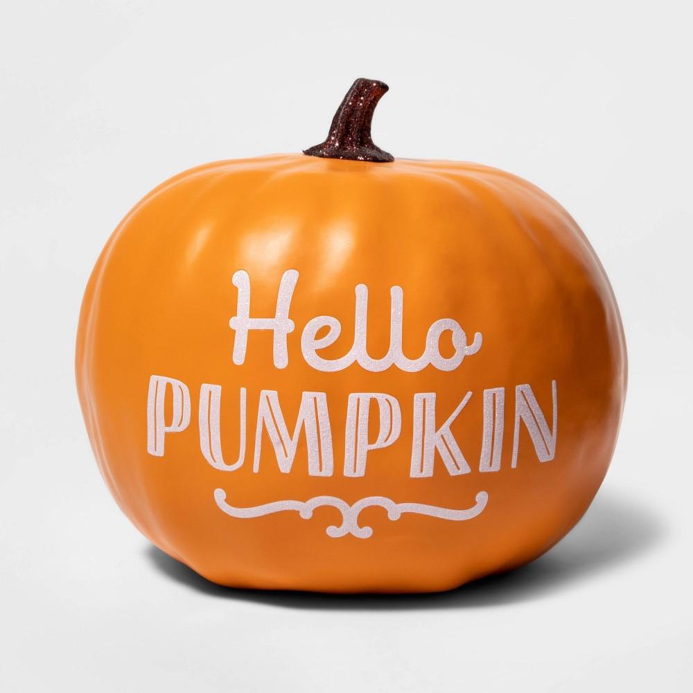 "Image of ""Halloween """"Hello Pumpkin"""" Painted Harvest Pumpkin Medium Orange - Spritz"""