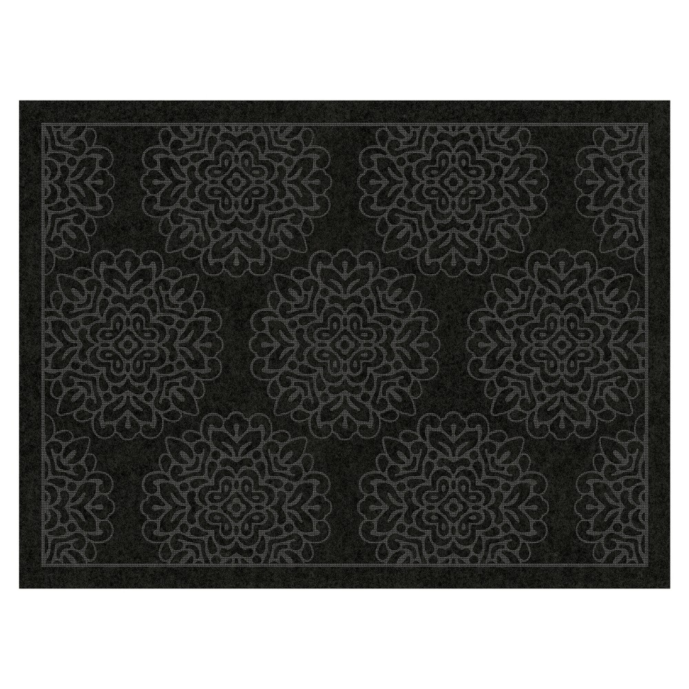 Image of 3'X4' Damask Doormats Black - Multy Home LP