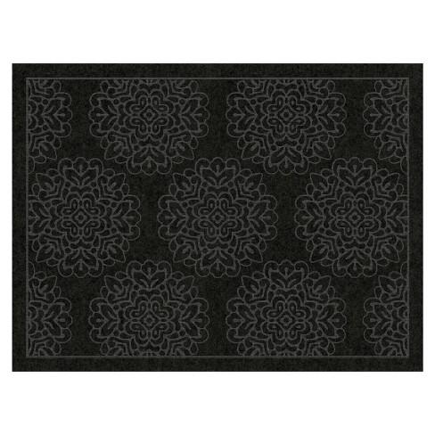 3'X4' Damask Doormats Black - Multy Home LP - image 1 of 1