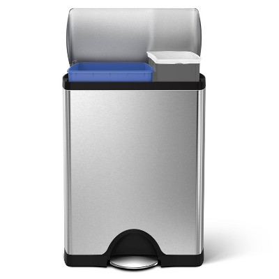 simplehuman 46 ltr Rectangular Step Trash Can with Dual Recycling Compartment Brushed Stainless Steel