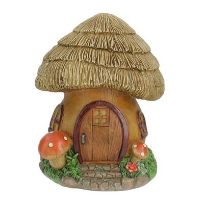 "Northlight 6.25"" Brown Mushroom House Outdoor Garden Statue"