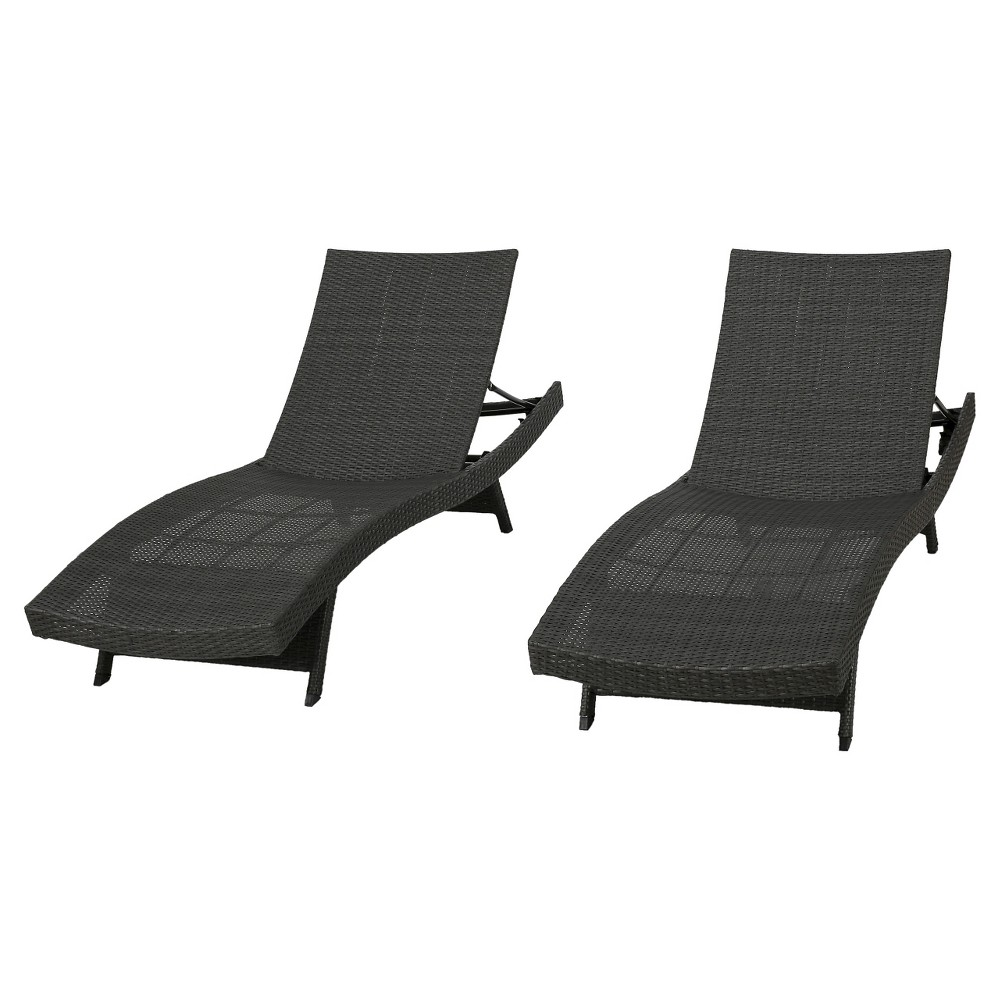 Toscana Set of 2 Wicker Patio Chaise Lounge - Gray - Christopher Knight Home