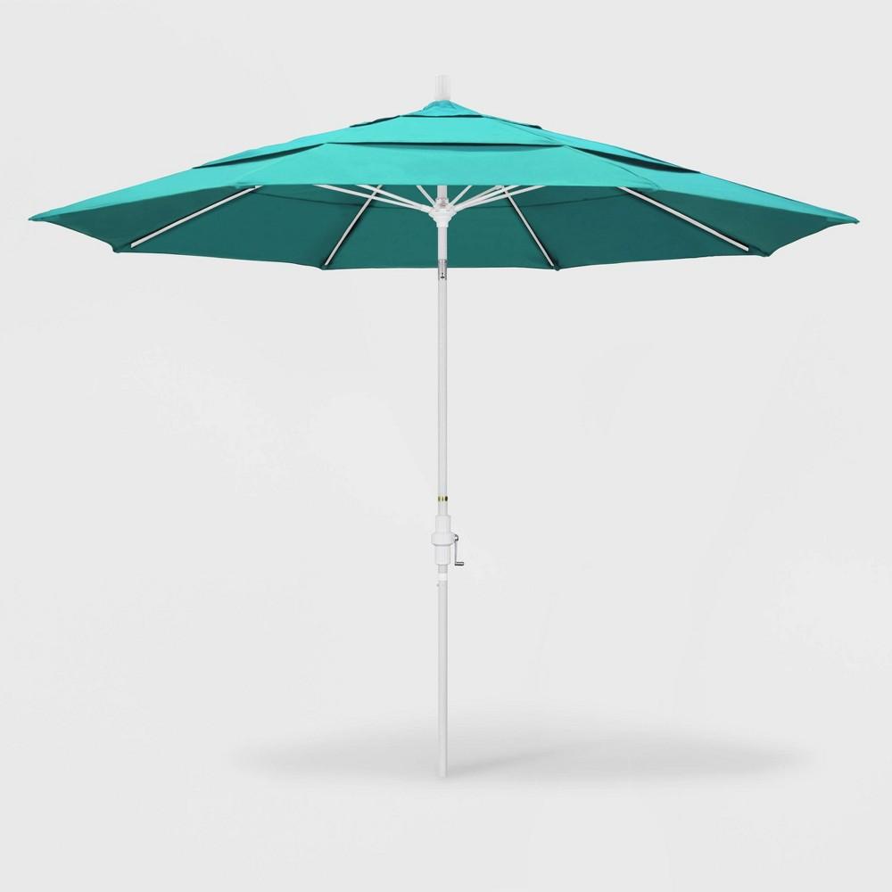 11' Sun Master Patio Umbrella Collar Tilt Crank Lift - Sunbrella Aruba - California Umbrella