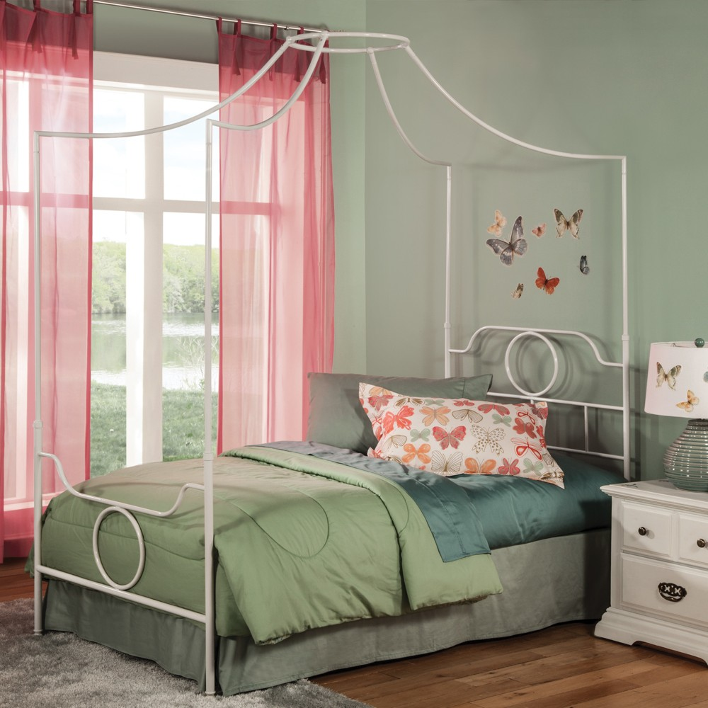 Emsworth Complete Kids Metal Canopy Bed White Full - Fashion Bed Group