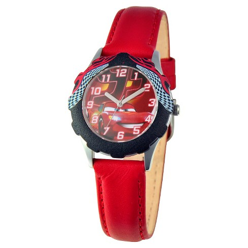 Boys' Disney Cars Stainless Steel with Bezel Watch - Red - image 1 of 2