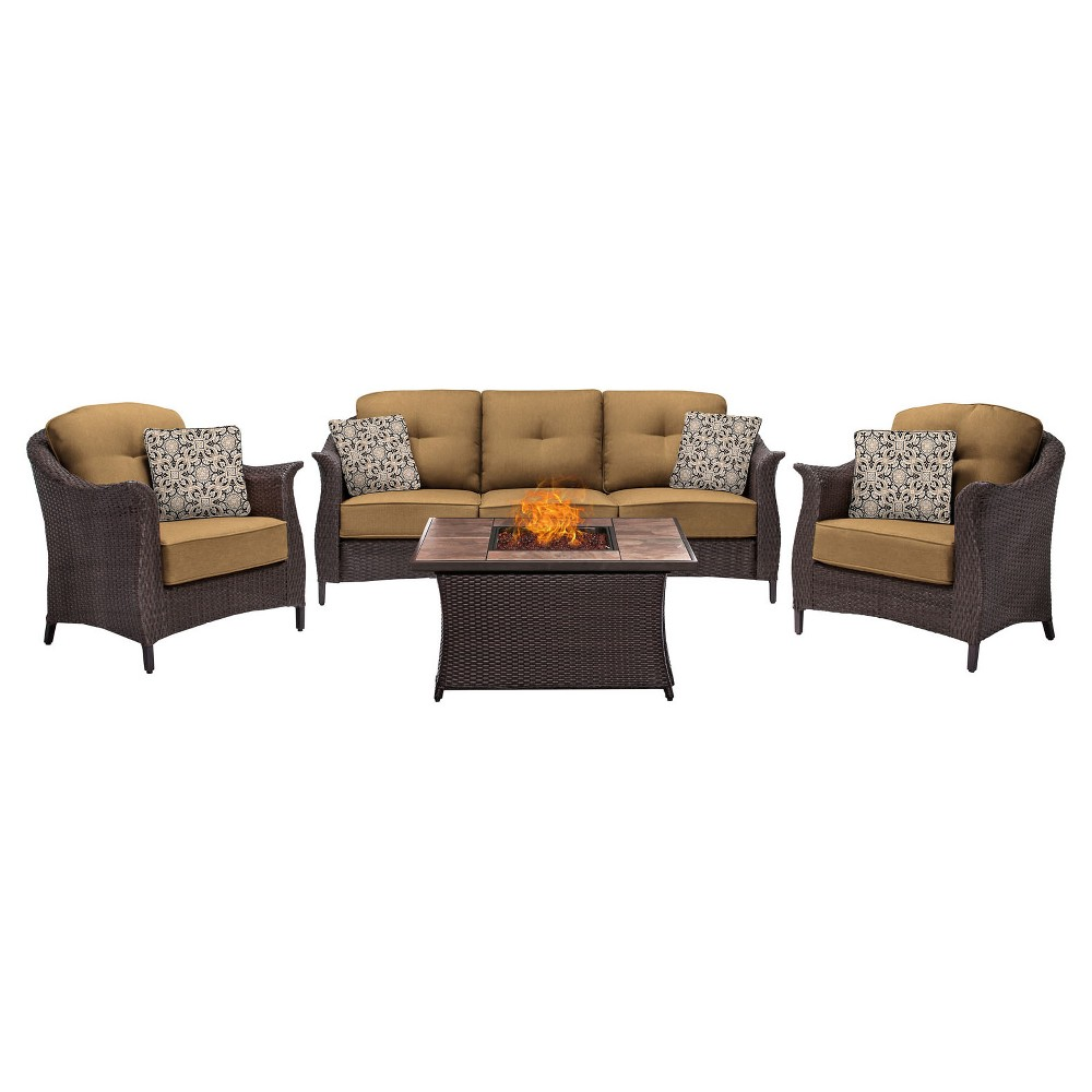 Gramercy 4pc All-Weather Wicker Patio Conversation Set with Fire Pit Table - Brown - Hanover, Tan
