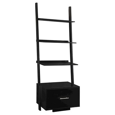 """69"""" American Heritage Ladder Bookcase with File Drawer Black - Breighton Home"""