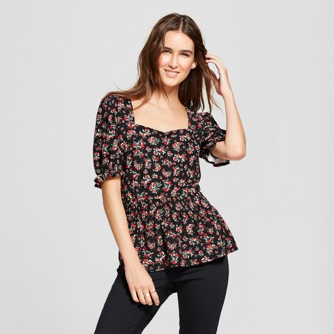 Women's Floral Print Puff Short Sleeve Peplum Blouse - Alison Andrews Black - image 1 of 2