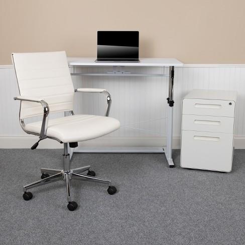 White Adjustable Computer Desk, Flash Furniture Computer Desk With 3 Drawer Pedestal