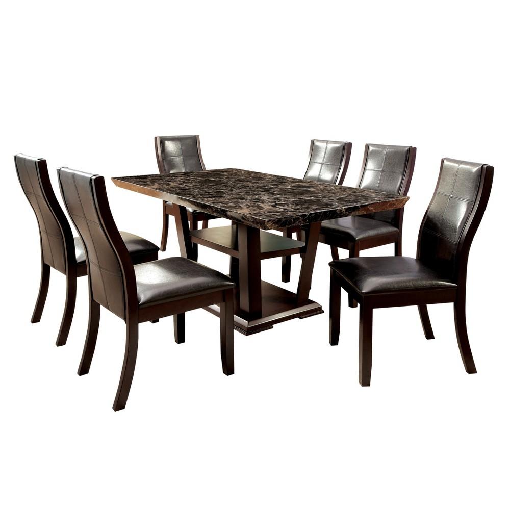 7pc Harrington Faux Marble Table Top w/Open Bottom Shelf Dining Table Set Dark Walnut - ioHOMES