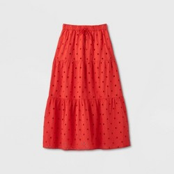 Women's Tiered Eyelet A-Line Midi Skirt - A New Day™