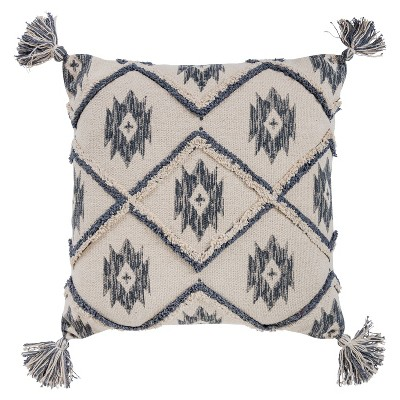 "20""x20"" Oversize Ikat Square Throw Pillow Cover Blue - Rizzy Home"