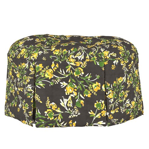 Mitch Tufted Round Ottoman Brown Floral - Cloth & Co. - image 1 of 4