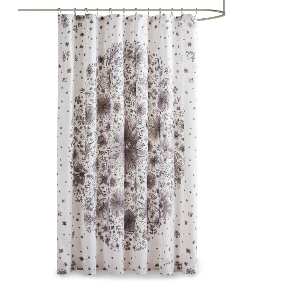 """Image of """"72""""""""x72"""""""" Lucy Printed Medallion Shower Curtain Gray"""""""
