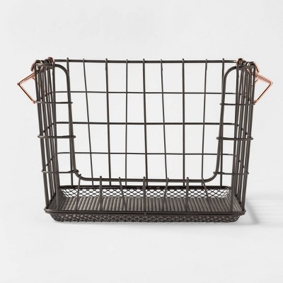 Wire Stackable Basket With Copper Handle Pewter - Threshold™