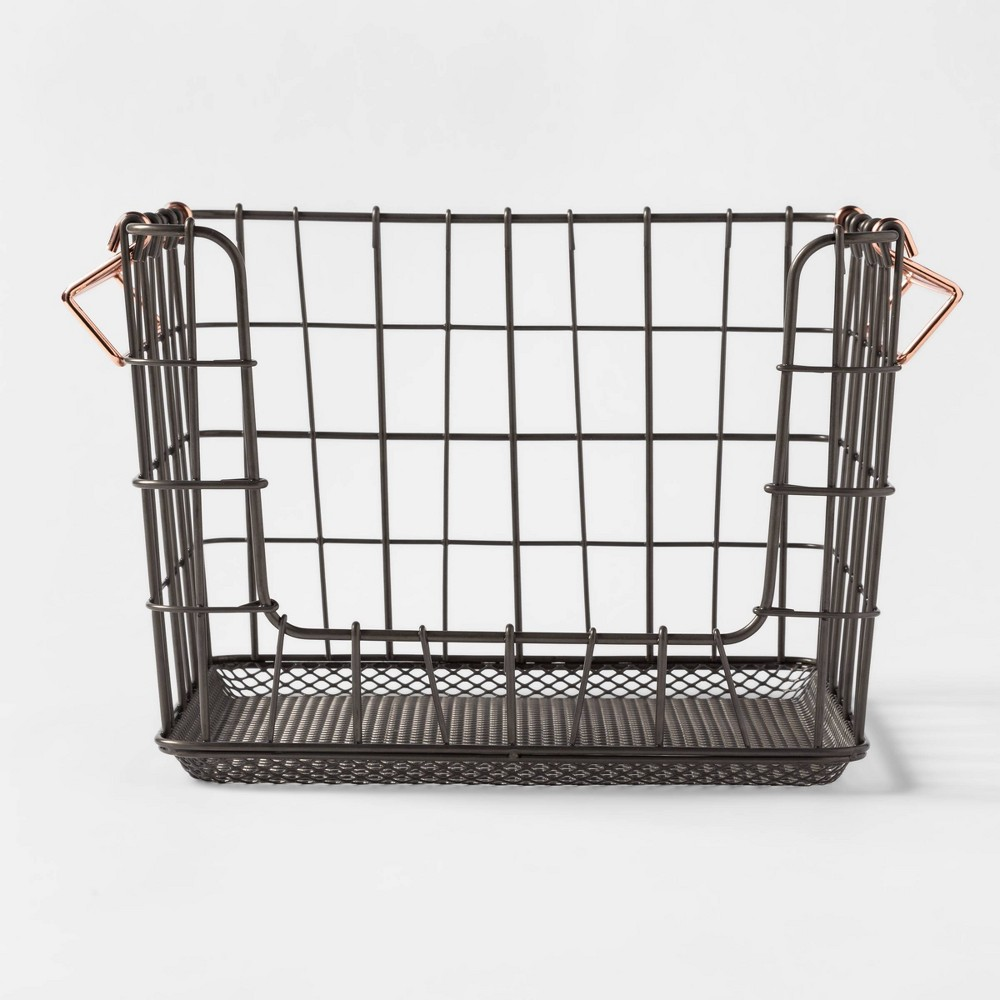 Image of Wire Stackable Basket With Copper Handle Pewter - Threshold , Silver