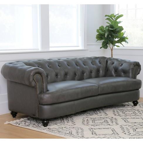 Harlow Tufted Top Grain Leather Sofa Gray - Abbyson Living