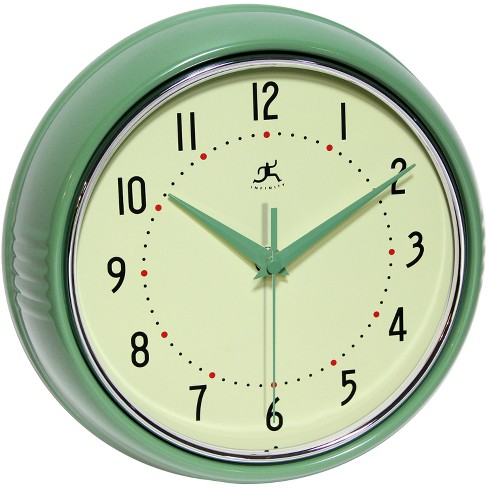 Retro Metal Wall Clock Green - Infinity Instruments® - image 1 of 2