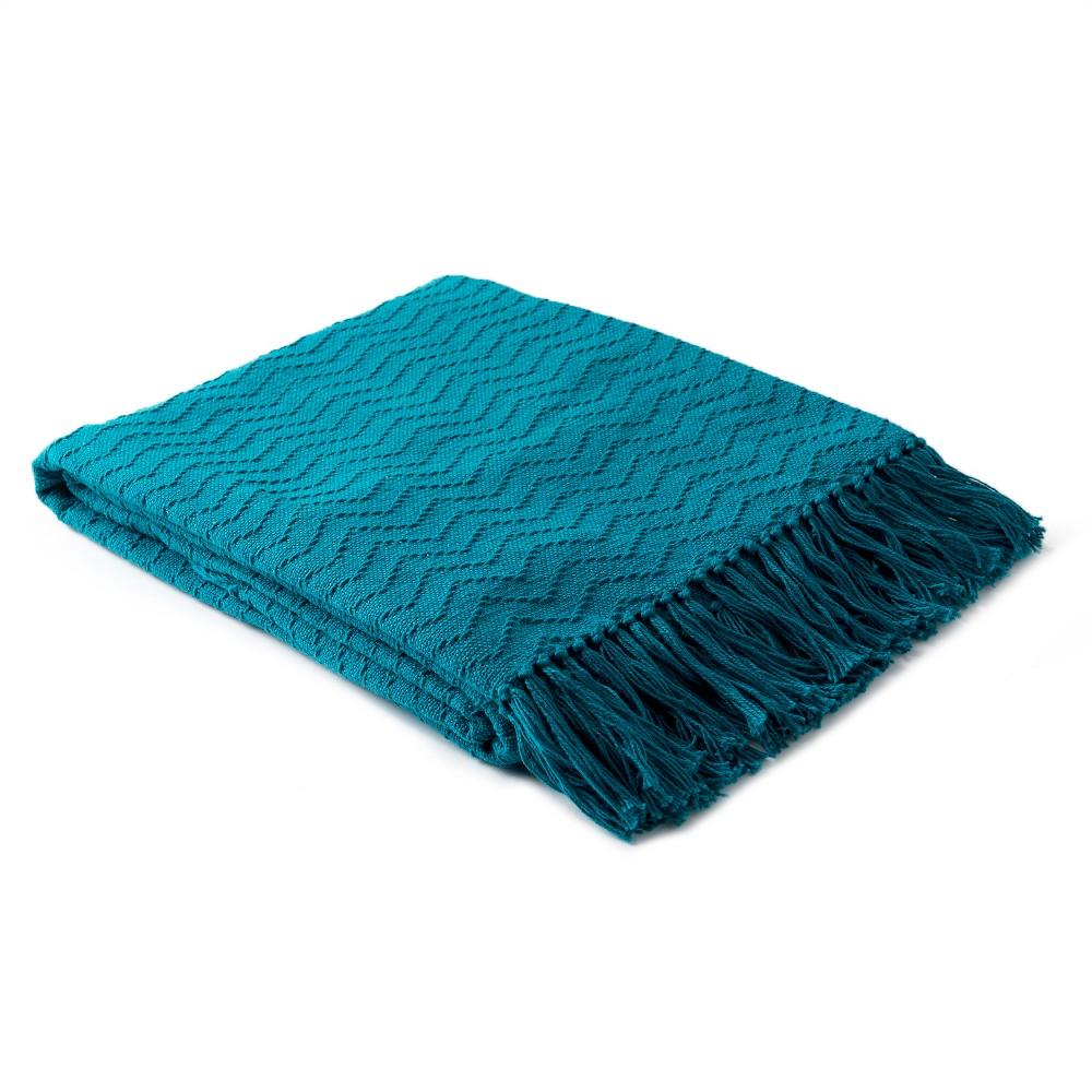 Teal (Blue) Stanley Chevron Throw 50