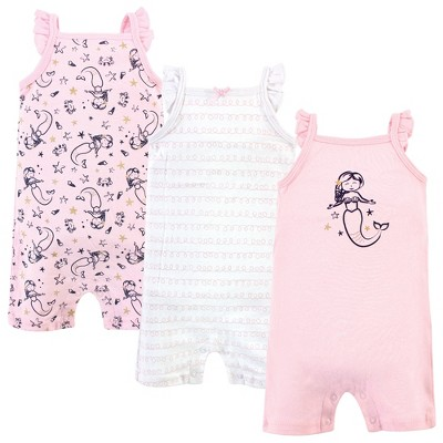 Hudson Baby Infant Girl Cotton Rompers 3pk, Pink Mermaid