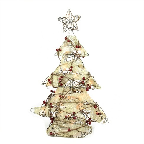 """Northlight 22"""" Pre-Lit  Burlap and Berry Rattan Christmas Tree Table Top Decoration - image 1 of 1"""