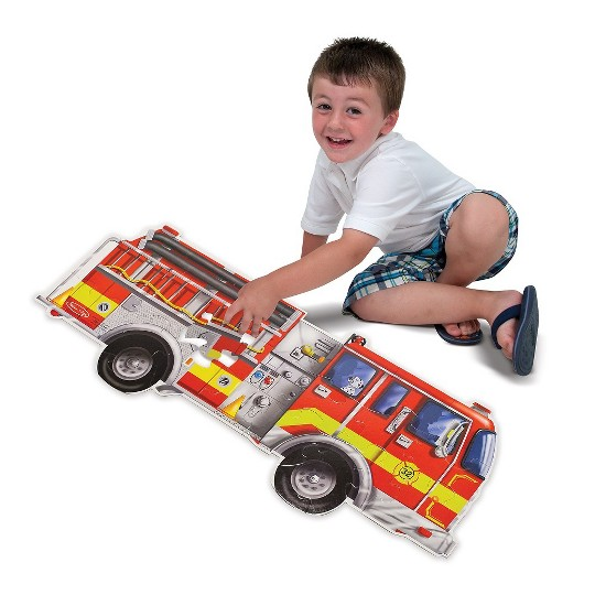 Melissa And Doug Fire Truck Jumbo Floor Puzzle 24pc image number null
