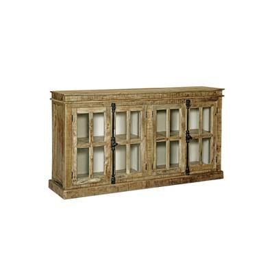 Mango Wood 4 Door Credenza with Glass Panels Brown - Stylecraft
