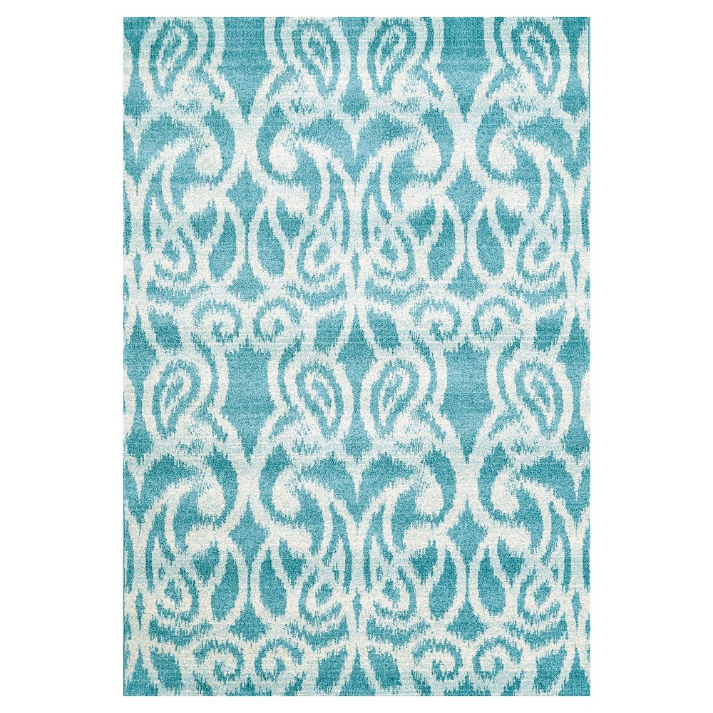 5'X8' Ikat Design Woven Area Rugs Teal - Room Envy, Blue
