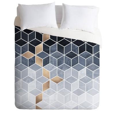 Elisabeth Fredriksson Soft Gradient Cubes Comforter Set Blue  - Deny Designs