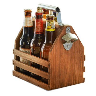 Bottle Caddy with Opener Wood