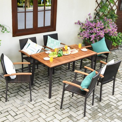 Costway 7 PCS Patio Rattan Dining Set Acacia Wood Table Top Stackable Chair