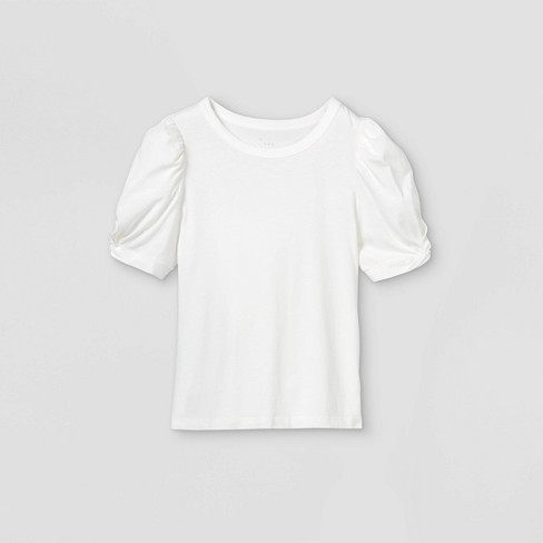 Women's Puff Short Sleeve Round Neck T-Shirt - A New Day™ - image 1 of 2