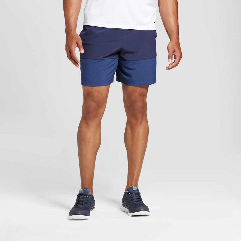 Men's Color Blocked Running Shorts - C9 Champion Cruising Blue L