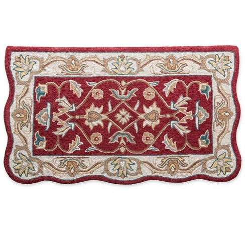 Hand Tufted Fire Resistant Scalloped Wool Hearth Rug 25 X 45 Merlot Plow
