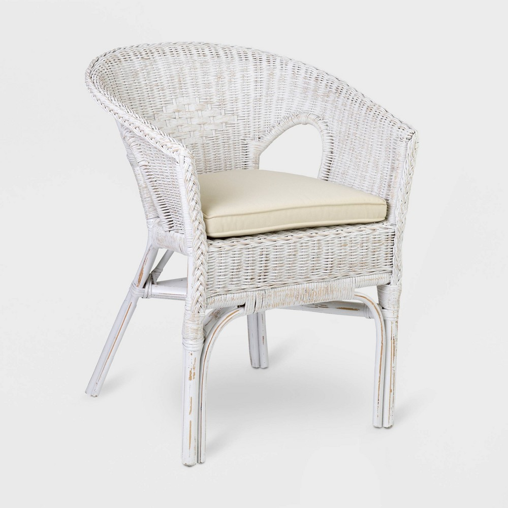 Enjoyable Collins Rattan Accent Chair White East At Main Pabps2019 Chair Design Images Pabps2019Com