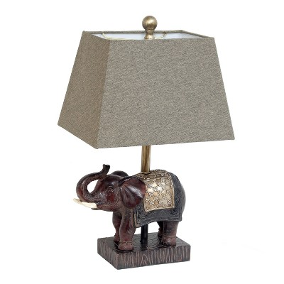 Elephant Table Lamp with Fabric Shade Brown - Lalia Home