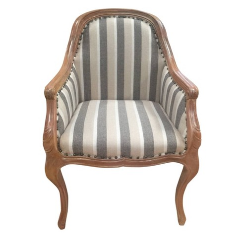 Striped Fabric Arm Wooden Frame Accent, Accent Chairs With Wooden Arms