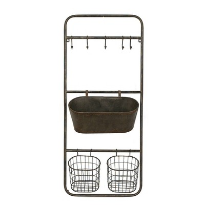 36.3  x 15.7  Rusted Hanging Bin and Baskets with Hooks - 3R Studios